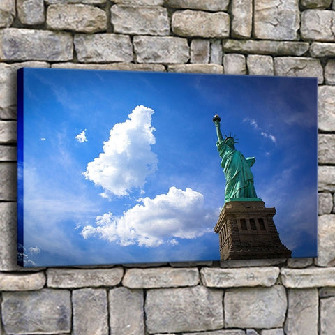 Statue Of Liberty New York City Blue Sky Modern Décor Canvas Wall Art HD Print