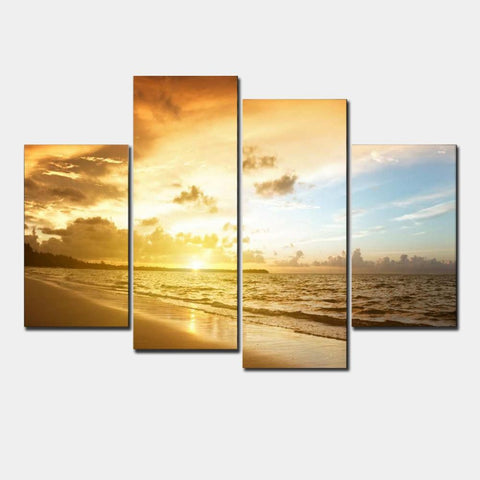 4 Panel Sunrise on the Beach Modern Decor Canvas Wall Art HD Print