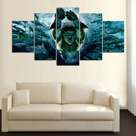 5 Panel Aquaman Swimming with Fish Modern Decor Canvas Wall Art HD Print