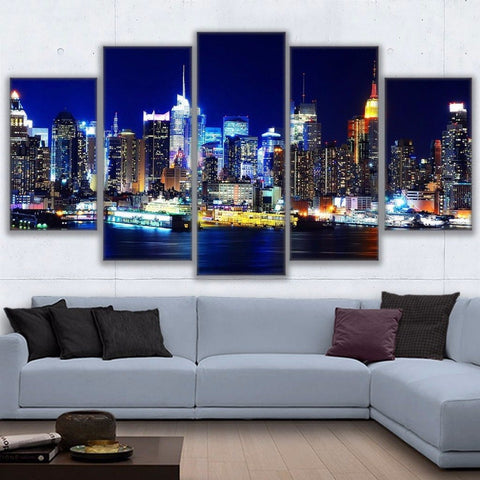 5 Panel Los Angeles City Nightscape Modern Décor Canvas Wall Art HD Print.