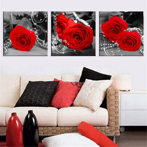 3 Panel Framed Red Roses & Pearls Modern Decor Canvas Wall Art HD Print