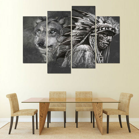 4 Panel B&W Native American & Wolf Chief Modern Décor Wall Art Canvas HD Print