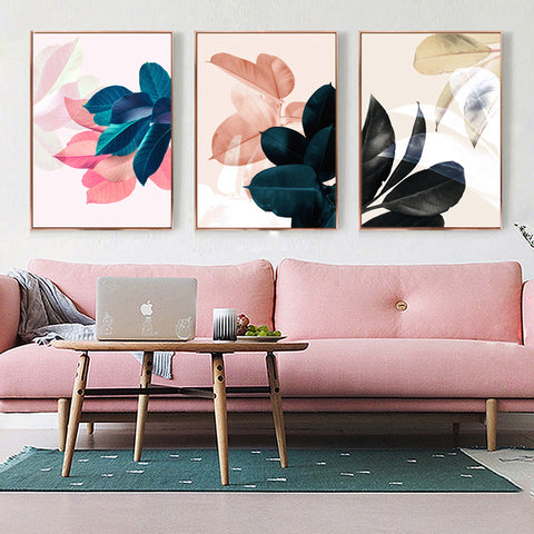 Nordic Style Abstract Color Leaf Modern Decor Canvas Wall Art HD Print