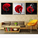 3 Panel Dancing Woman Red Rose Skirt Modern Decor Canvas Wall Art HD Print