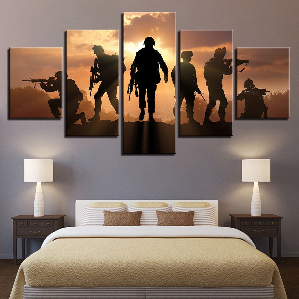 5 Panel American Soldiers Silhouette Modern Decor Canvas Wall Art HD Print
