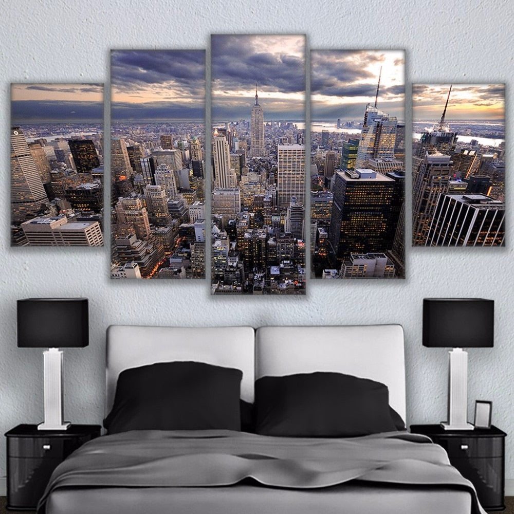 Canvas Wall Art HD Printed Posters Frame 5 Pieces Manhattan New York Skyscraper Cityscape Painting Home Decor Pictures PENGDA