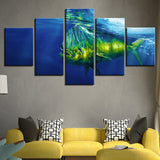 5 Panel Deep Sea Animal Big Fish Modern Decor Canvas Wall Art HD Print
