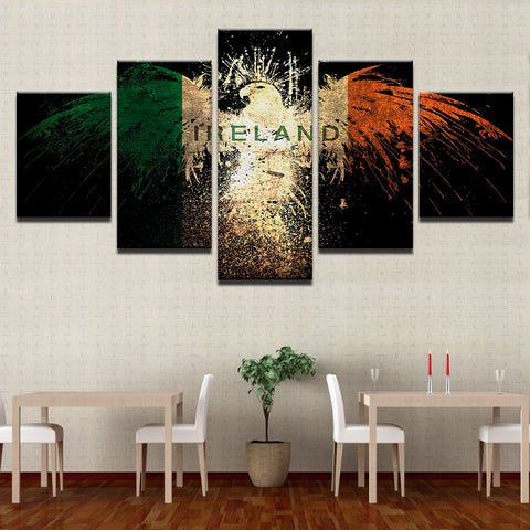 5 Panel Irish Eagle Flag Modern Décor Wall Art Canvas HD Print
