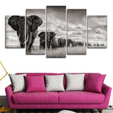 5 Panels Elephant Walking On The Grassland Modern Decor Canvas Wall Art HD Print