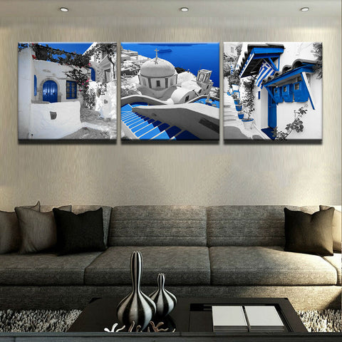 3 Panel Greek Buildings Modern Decor Canvas Wall Art HD Print