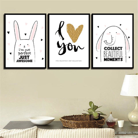 Nordic Style Cartoon Elephant Rabbit And Letters I Love You Poster Children Room Wall Art Decor