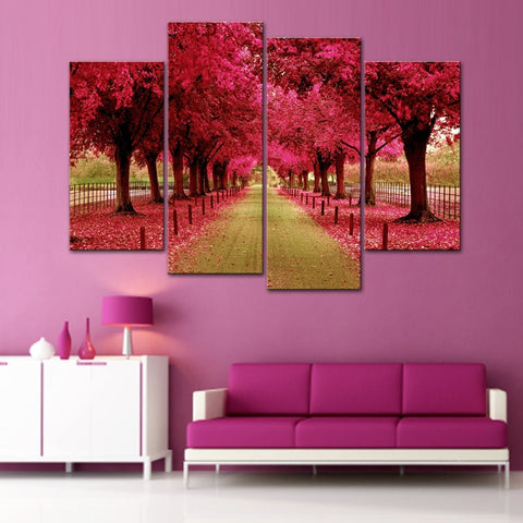 4 Panel Red Cherry Autumn Trees Modern Decor Canvas Wall Art HD Print