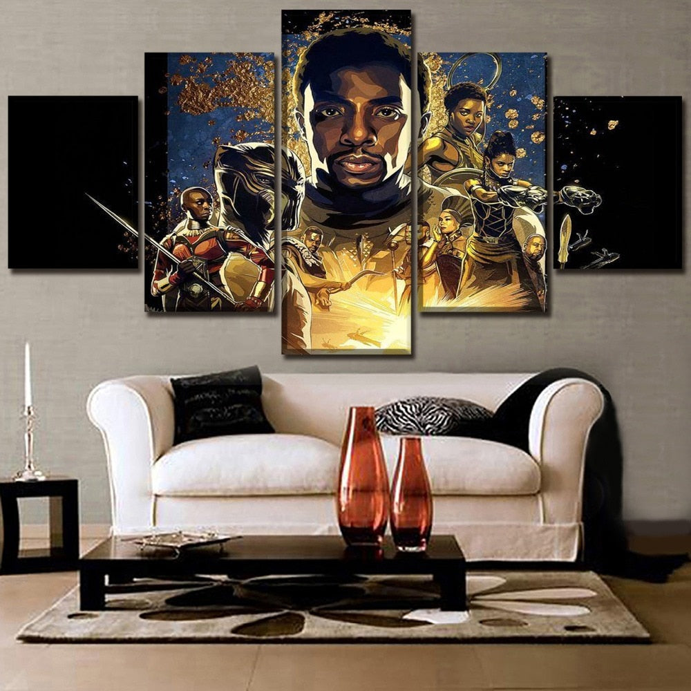 5 Panel Framed Black Panther Modern Décor Canvas Wall Art HD Print