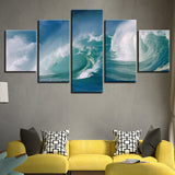 Modern Canvas Paintings Living Room Wall Art Framework 5 Pieces Surged Sea Waves Seascape Pictures Home Decor HD Prints Posters