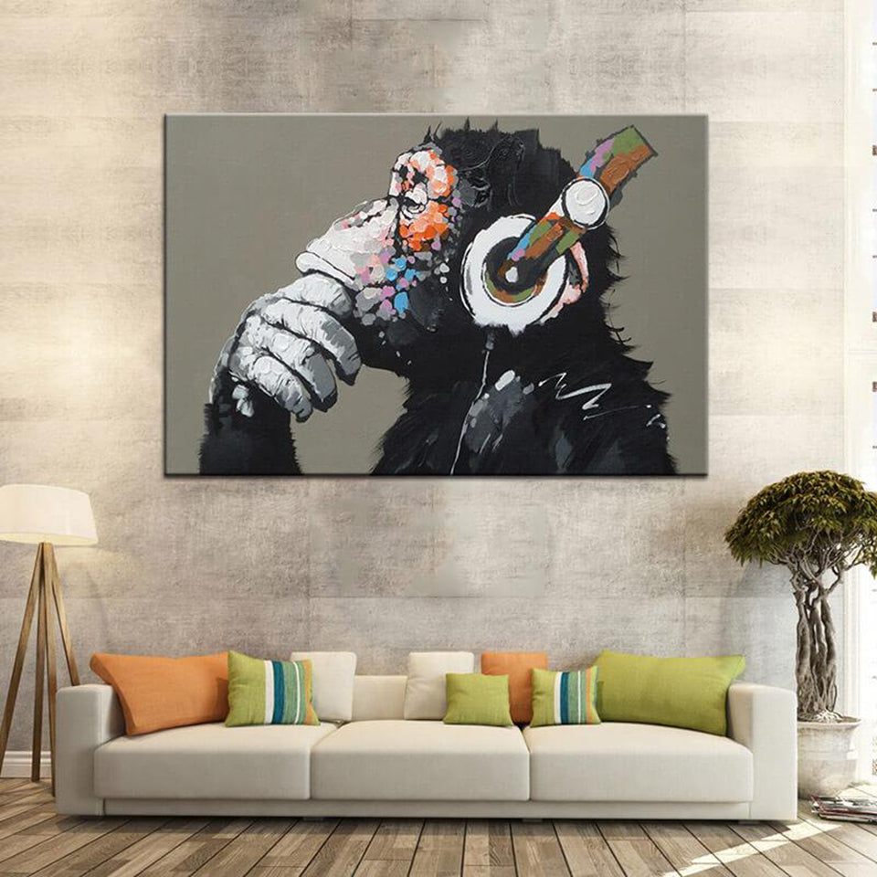 Canvas Paintings Wall Art HD Prints Framework Home Decor 1 Piece/Pcs Funny Thinking Monkey With Headphone Pictures Animal Poster