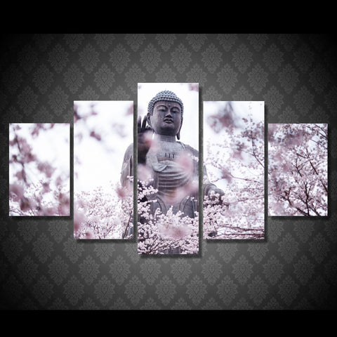 5 Panel Buddha And Cherry Blossom Modern Decor Canvas Wall Art HD Print