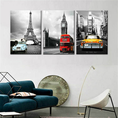 3 Panel Paris Tower New York City Car Big Ben Landscape Modern Décor Canvas Wall Art HD Print