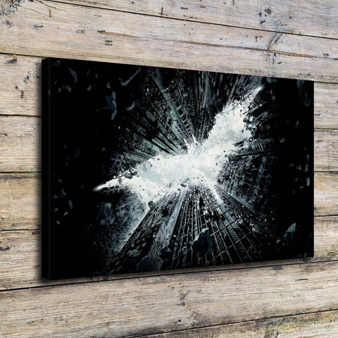 Batman Logo Abstract City Building Modern Décor Wall Art Canvas HD Print