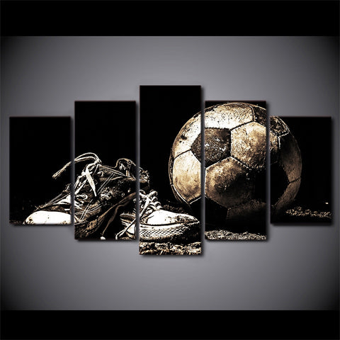 Wall Modular Framework Pictures For Living Room Decorative Popular 5 Panel Soccer Abstract Photo HD Poster Canvas Painting