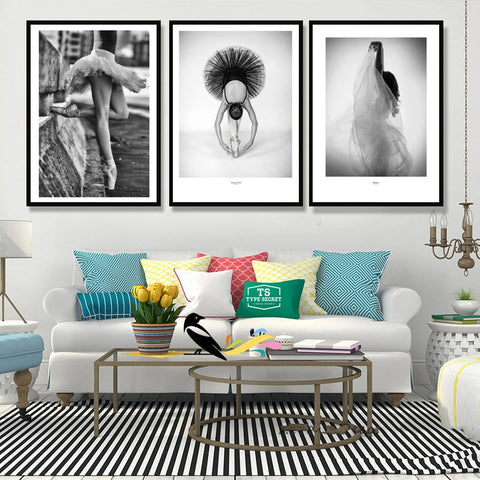 Nordic Fashion Style Ballerina Modern Canvas Wall Art HD Print