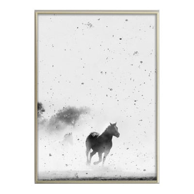 Nordic Style Horse, Dog Moon Modern Decor Canvas Wall Art HD Print