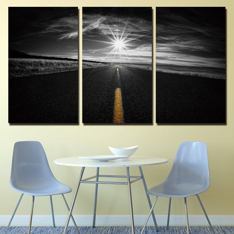 Framework Canvas Wall Art Prints Poster 3 Piece Lights Road Filed Pictures Living Room Decor Black And White Expressway Painting