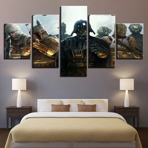 5 Panel Star Wars Vader & Bounty Hunters Modern Decor Canvas Wall Art HD Print