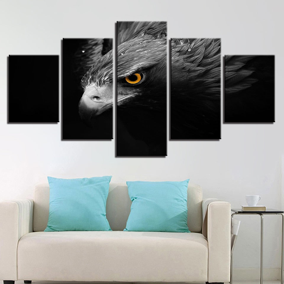 5 Panel Gray Eagle Modern Decor Canvas Wall Art HD Print
