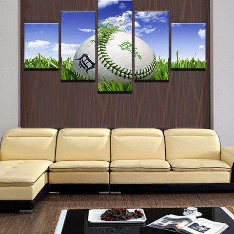 5 Panel Baseball in Grass Modern Decor Canvas Wall Art HD Print