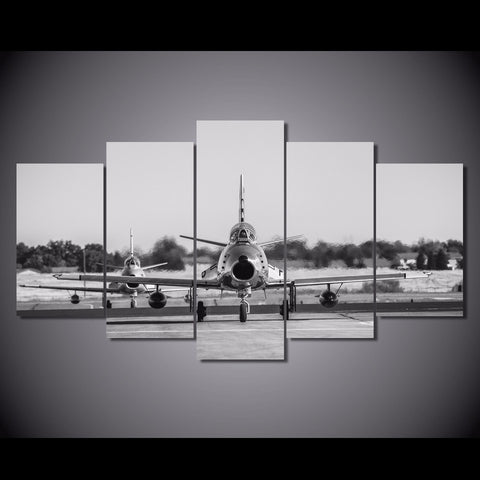 5 Panel B&W Vintage Jet Planes Landscape Modern Décor Wall Art Canvas HD Print