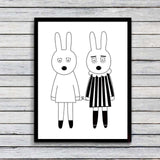 Nordic Style Bear Rabbits Modern Canvas Wall Art HD Print