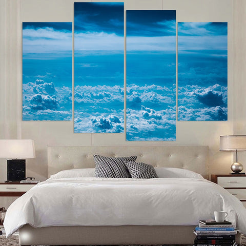 4 Panel Clouds Blue Sky Modern Decor Canvas Wall Art HD Print