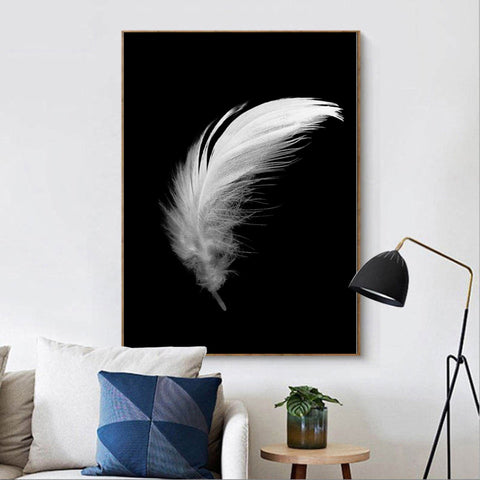 Nordic Style Girl Butterfly Feather Canvas Wall Art HD Print