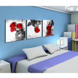 Large Canvas Framework Painting 3 Pieces Rose Flower Printed Modular Picture For Bedroom Living Room Home Wall Art Decor