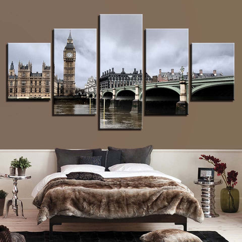 5 Panel London Big Ben Bridge Elizabeth Tower Modern Décor Canvas Wall Art HD Print.