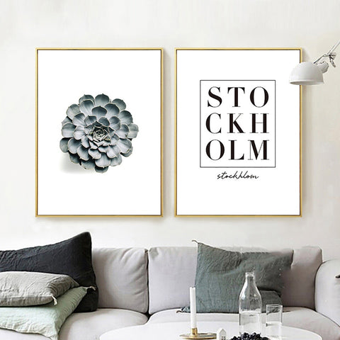 Nordic Style Minimalist Black White Typography Plant Modern Decor Canvas Wall Art HD Print