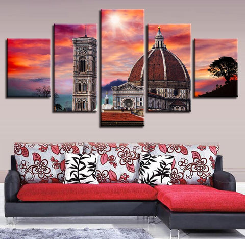 5 Panel Church Against a Red Sky Modern Décor Wall Art Canvas HD Print