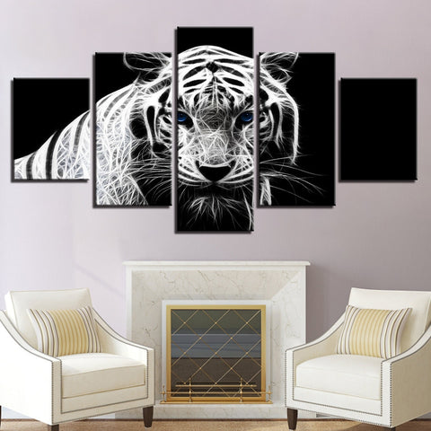 5 Panel B&W Abstract Tiger Modern Décor Wall Art Canvas HD Print