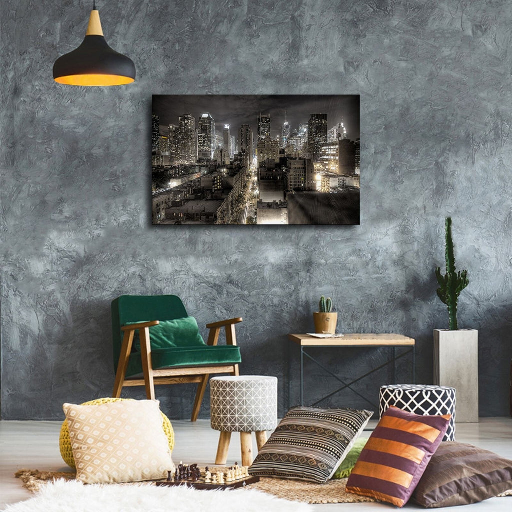 New York City Skyline @ Night Modern Décor Wall Art Canvas HD Print