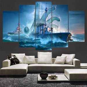 5 Panel World of Warships Hand of God Modern Décor Wall Art Canvas HD Print