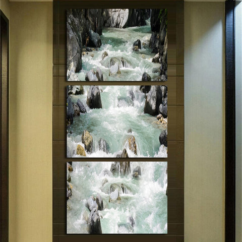 Poster Canvas Painting Living Room Wall Art Frame 3 Piece Mountain Stream Water Stone Modular Printed Cuadros Decoration Picture