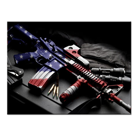 Gun With American Flag Modern Decor Canvas Wall Art HD Print