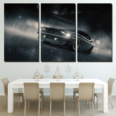 3 Panel Black Plymouth Barracuda Car Modern Decor Canvas Wall Art HD Print