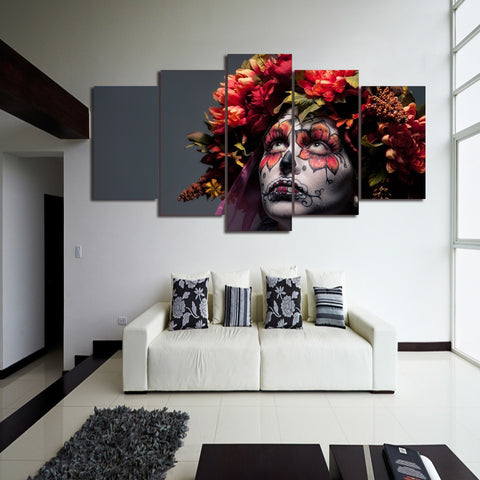 5 Panel Day Of The Dead Girl Modern Decor Canvas Wall Art HD Print