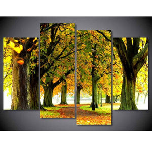 4 Panel Nature Forest Park Trees Landscape Modern Decor Canvas Wall Art HD Print