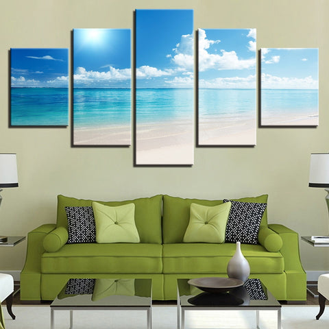 5 Panel Framed Blue Sky Beach Seascape Modern Décor Canvas Wall Art HD Print