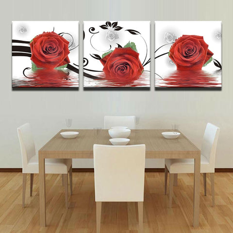 3 Panel Framed Colorful Red Roses on Water Modern Décor Wall Art Canvas HD Print