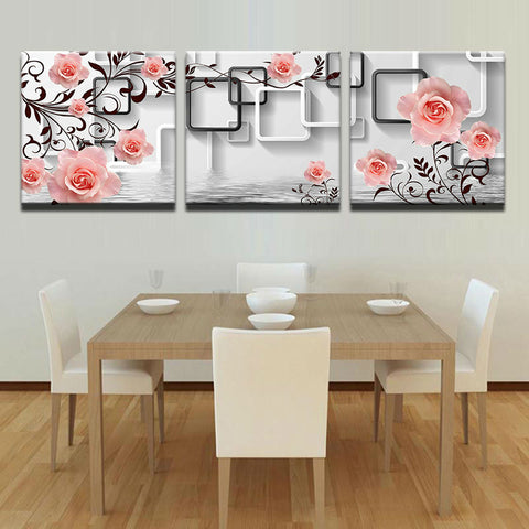 3 Panel Framed Pink Roses & Squares Modern Decor Canvas Wall Art HD Print