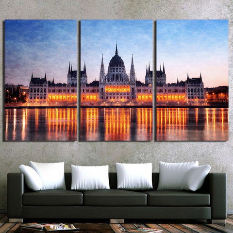 3 Piece Budapest Parliament Modern Canvas Wall Art HD Print