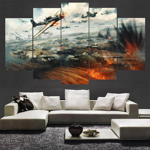 5 Panel WWII Military Russian Plane and Tanks attacking Modern Decor Canvas Wall Art HD Print